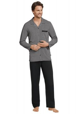 Zwarte doorknoop pyjama Schiesser