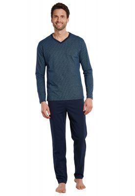 Sportieve donker blauwe herenpyjama