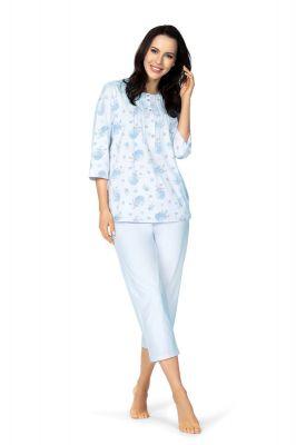 Katoenen klassieke blauwe dames pyjama