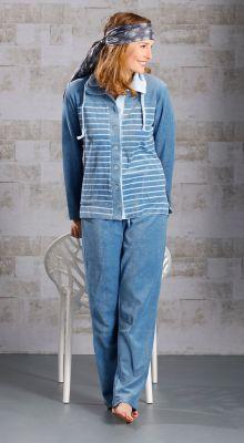 Blauw velours huispak dames Pastunette