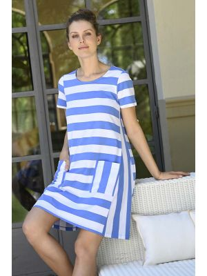 Blauw gestreept nachthemd