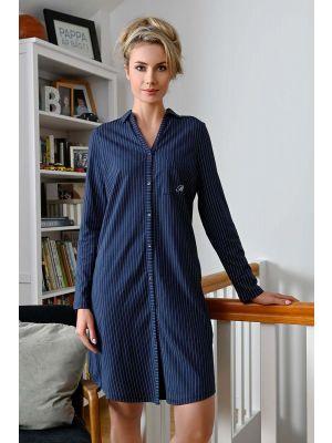 Donker blauw doorknoop nachthemd
