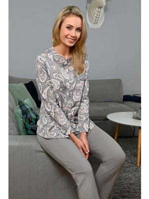 Grijze doorknoop pyjama Ringella