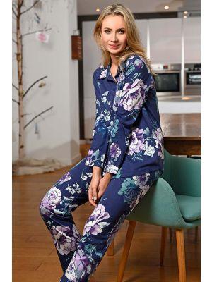 Ultramarijn bloemen pyjama doorknoop