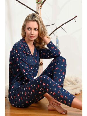 Doorknoop kerst pyjama blauw