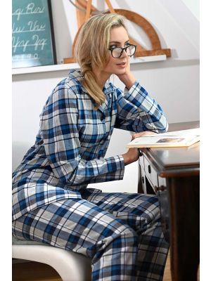 Blauwe flanellen pyjama Ringella