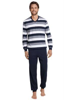 Blauw grijs gestreepte heren pyjama Schiesser