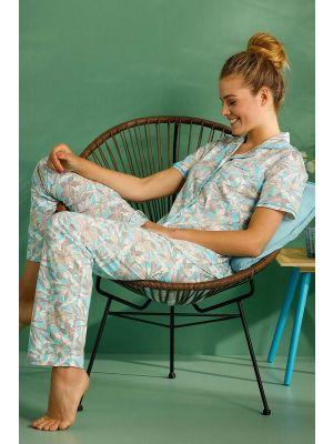 Doorknoop dames pyjama bloemenprint