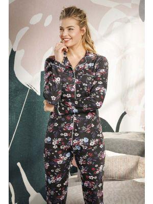 Doorknoop dames pyjama flower