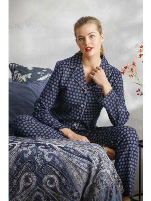 Blauw flanellen doorknoop dames pyjama