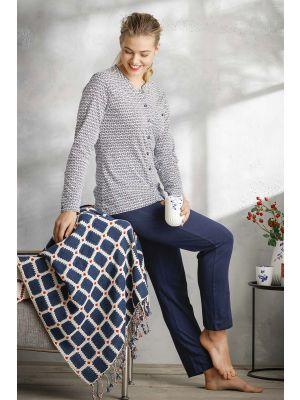 Katoenen doorknoop pyjama Pastunette
