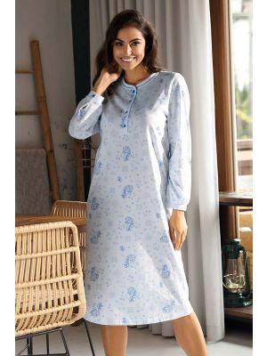 Blauwe flora nachthemd Comtessa