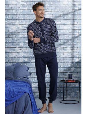 Blauw katoenen heren pyjama