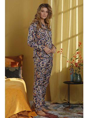 Satijnen doorknoop dames pyjama