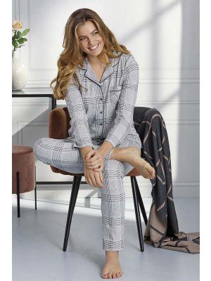 Geruite dames doorknoop pyjama