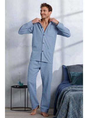 Flanellen doorknoop heren pyjama blauw