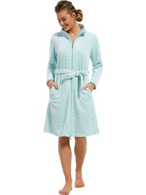 Turquoise dames badjas met rits