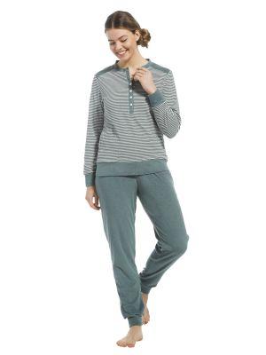 Groen gestreepte badstof pyjama Pastunette