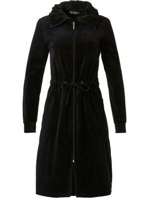 Zwarte velours badjas rits