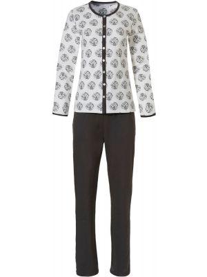 Zwart, witte doorknoop dames pyjama