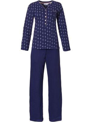 Blauwe katoenen dames pyjama