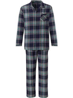 Geruite doorknoop heren pyjama flanel
