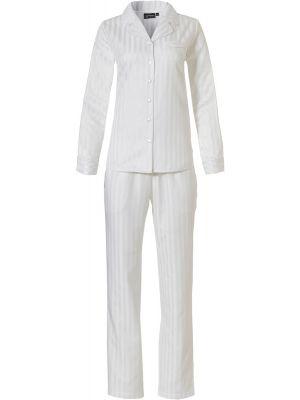 Wit satijnen doorknoop dames pyjama