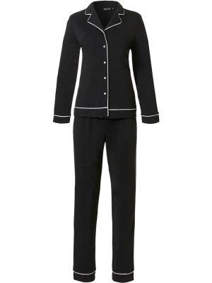 Dames doorknoop pyjama zwart