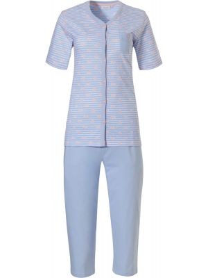 Doorknoop dames pyjama blauw gestreept