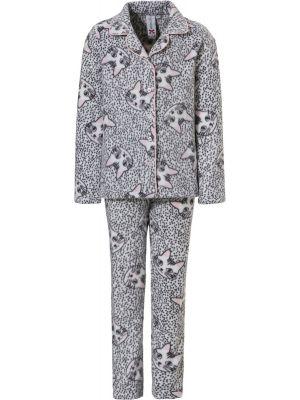 Warme doorknoop meisjes pyjama kat