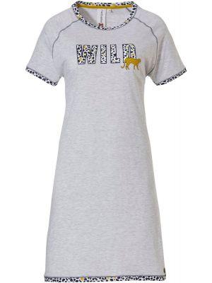 Grijs nachthemd met jachtluipaardprint