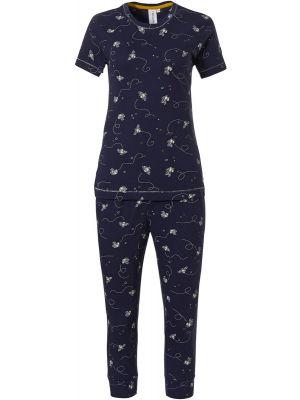 Donker blauwe pyjama bij