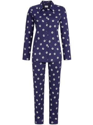 Warme donker blauwe doorknoop pyjama schaapjes