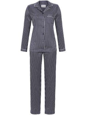 Satijnen dames pyjama blauw gestreept