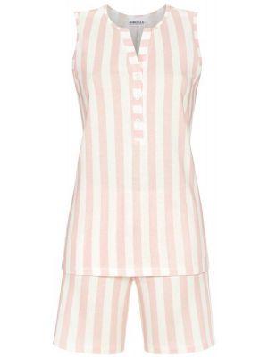 Mouwloze shortama roze strepen