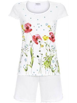 Witte dames shortama bloemen