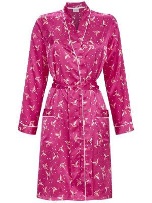 Roze satijnen dames badjas