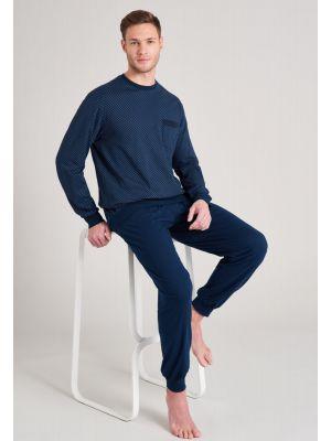 Blauwe heren pyjama Schiesser