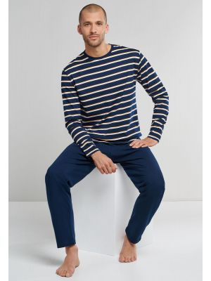 Blauwe Schiesser pyjama voor heren