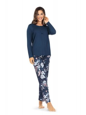 Marineblauwe bloemen pyjama Ascafa