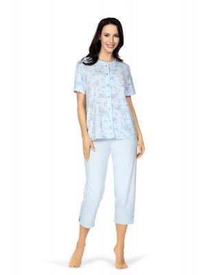 Klassieke blauwe doorknoop dames pyjama