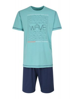 Turquoise heren shortama Tom Tailor